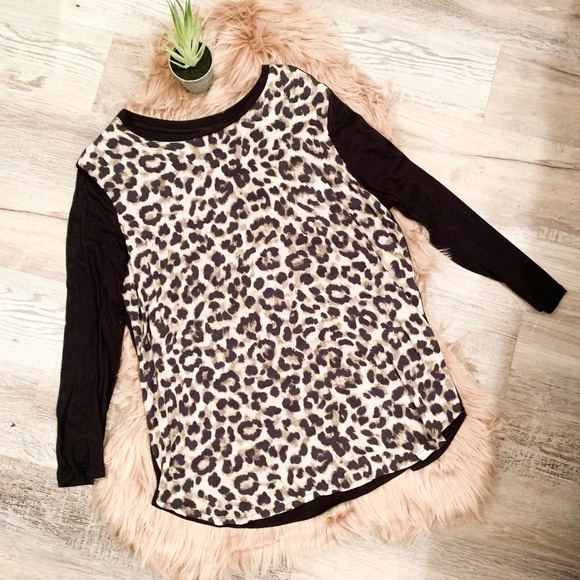 ASOS Tops - ASOS Black and Leopard Long Sleeved Top